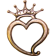 Gorgeous STERLING Heart With Crown Vintage Brooch