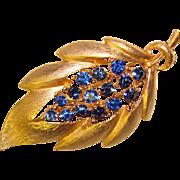 Gorgeous BLUE RHINESTONE Signed Vintage Estate Brooch