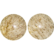 Awesome Large GLITTER LUCITE Vintage Clip Earrings