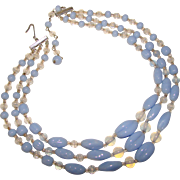 Fabulous PERIWINKLE BLUE Glass 3 Strand Vintage Necklace
