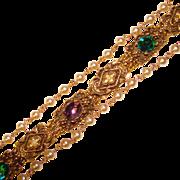 Fabulous PURPLE & GREEN Rhinestone & Faux Pearl Estate Bracelet