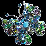Fabulous REGENCY Signed Rhinestone Springtime Butterfly Brooch