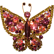 Fabulous Large BUTTERFLY Color Rhinestone Vintage Brooch