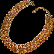 Fabulous AMBER AURORA Open Back Stones Vintage Necklace