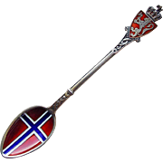 David Andersen Sterling & Enamel Spoon- Norway Flag Design