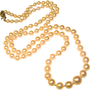 Fine Vintage Cultured AKOYA PEARL Princess Length Necklace with 14K Gold Clasp
