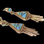 Gorgeous STERLING & OPAL Inlay Dangle Earrings