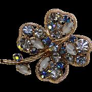 Fabulous REGENCY Signed Blue Rhinestone LUCKY CLOVER Vintage Brooch