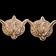 Fabulous RUTH BLOCH Sterling Modernist Huge Clip Earrings