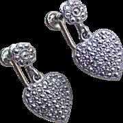 Sterling & Marcasite Heart Signed Vintage Earrings