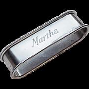 Blackinton Sterling Napkin Ring - Engraved Martha