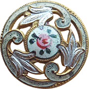 Gorgeous Antique Enamel Button