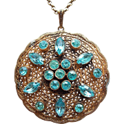 Art Deco Aqua Rhinestone Filigree Pendant Necklace