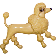 Early Plastic WINKING POODLE Vintage Brooch