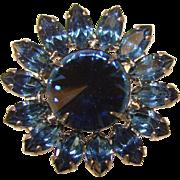 Gorgeous DARK BLUE Rivoli Navette Rhinestone Brooch