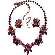 Fabulous Weiss Purple PInk & Red Rhinestone Vintage Necklace Set