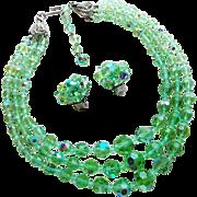 Green Aurora Crystal 3 Strand Vintage Necklace Set