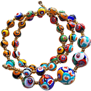 Gorgeous Millefiori Glass Vintage Necklace - Italian Beads