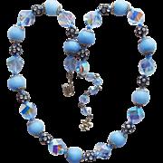 Signed Vendome Blue Glass & Crystal Vintage Necklace