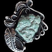Fabulous Sterling & Light Green Turquoise Vintage Pendant