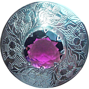 Huge Mizpah Signed Purple Glass Vintage Kilt Or Sash Pin Brooch - Vintage Thistle Design
