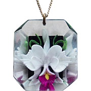 Orchid Reverse Carved Lucite Vintage Pendant Necklace