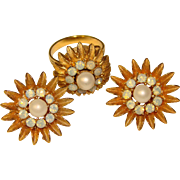 Awesome SECRET COMPARTMENT Opalescent Rhinestone Ring & Clip Earrings Set