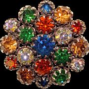 Fabulous VENDOME Signed Color Rhinestone Vintage Brooch