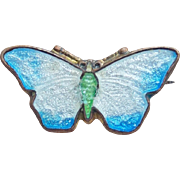 Tiny Antique Enamel Butterfly Mini Brooch - For Doll or Lapel