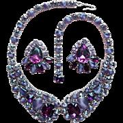 Fabulous Purple & Lavender Rhinestone & Glass Vintage Necklace Set