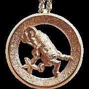 Signed Trifari Aries Vintage Pendant Necklace - Zodiac Astrology