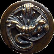 Large Bakelite Vintage Button with Metal Flower Embellishment