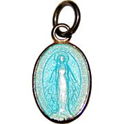 Tiny Sterling AQUA ENAMEL Baby Charm - Mary