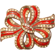 Fabulous 1940's FANCY BOW Shaped Rhinestone Red Enamel Painted Brooch