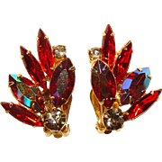 Gorgeous RED AURORA Rhinestone Vintage Clip Earrings