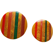 Bakelite Laminated Inlaid Stripes Vintage Buttons - Amber Red Green Orange Brown