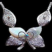 Carved Mother of Pearl Filigree Vintage Necklace