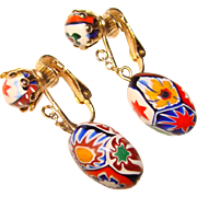 Italian Millefiori Glass Vintage Dangle Earrings