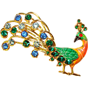 Fabulous PEACOCK Vintage Blue & Green Rhinestone Enameled Brooch