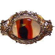 Fabulous STERLING & AGATE Signed Vintage Brooch – For Lapel or Doll