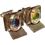 Super Cool Vintage AURORA GLASS Stones Mesh Wrap Cufflinks