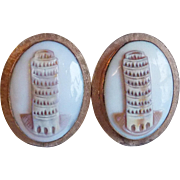 Mid Century Carved Shell Cameo Leaning Tower Of Pisa Vintage Cufflinks - Signed Destino 12K GF