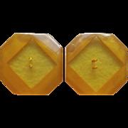 Huge or Large Carved Bakelite Buttons - Apple Juice & Amber