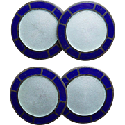Art Deco Sterling & Enamel Cufflinks - Blue White Foster & Bailey