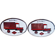 Vintage Enamel Old No. 1 Truck or Fire Truck Cufflinks