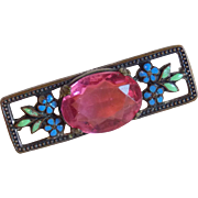 Antique Pink Glass & Enamel Brooch