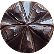 Large Carved Bakelite Vintage Estate Button - Chocolate Brown