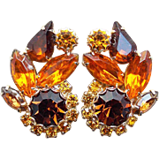 Orange Amber & Brown Rhinestone Vintage Earrings