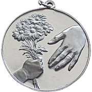 Sterling Mother's Day Child Gives Mom Bouquet Vintage Pendant - 1973 Franklin Mint