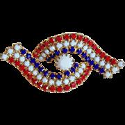 Patriotic Red White & Blue Rhinestone Vintage Brooch